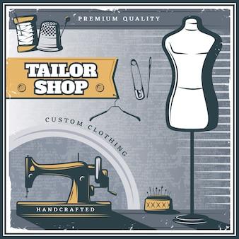 Affiche de magasin de tailleur vintage