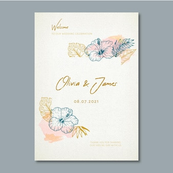 Affiche de mariage avec ornements floraux