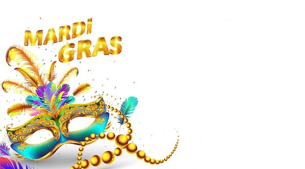 Affiche de masque de carnaval de mardi gras isolé sur blanc