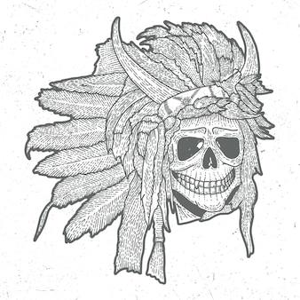Affiche de masque de crâne indien dans le style de gravure sur bois avec des cornes