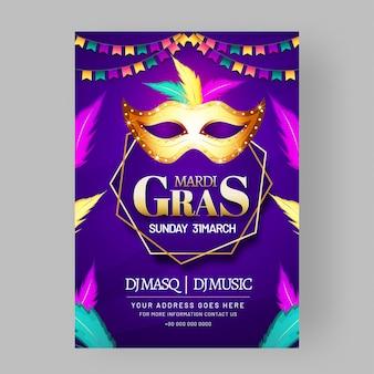 Affiche de masque de fête doré brillant