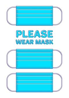 Affiche avec masque médical et typographie please wear mask