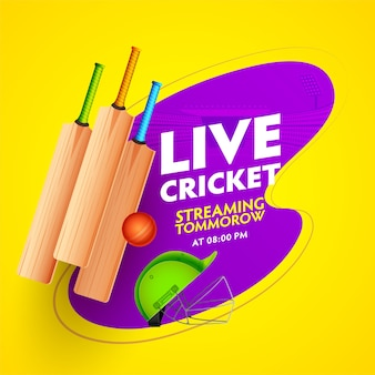 Affiche de match de streaming de cricket en direct avec des équipements réalistes et vue du stade violet sur fond jaune.