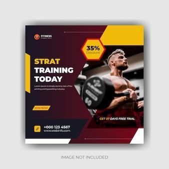 Affiche de médias sociaux d'entraînement corporel de gym et conception de publication instagram vecteur premium