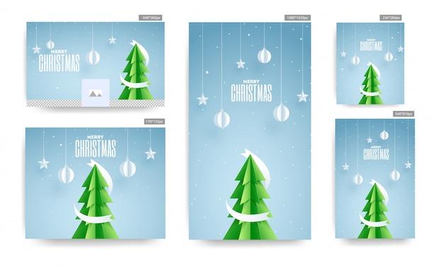 Affiche de médias sociaux et modèle sertie de papier coupe arbre de noël, boules suspendues et étoiles décorées sur fond bleu pour la fête de joyeux noël.