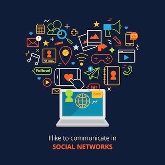 Affiche de médias sociaux avec ordinateur et réseau ligne icônes abstraites définies