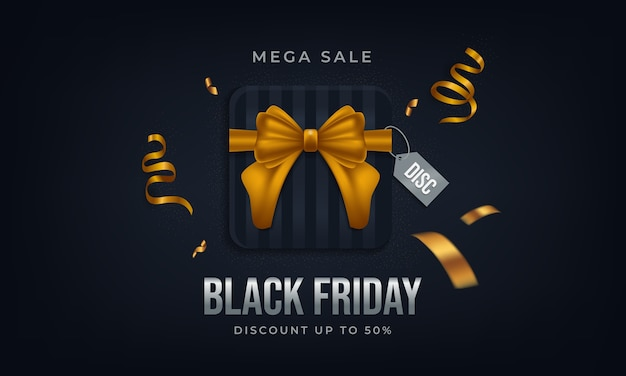 Affiche méga vente de jour noir avec boîte-cadeau et ruban d'or