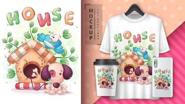 Affiche et merchandising de chien de maison mignon