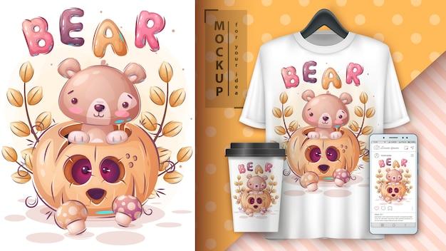 Affiche et merchandising de citrouille d'halloween d'ours.