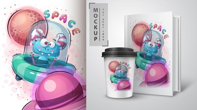 Affiche et merchandising extraterrestre mignon.
