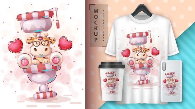 Affiche et merchandising de girafe de toilette