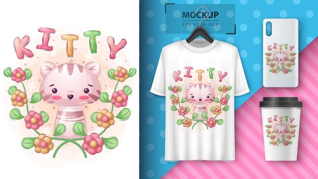 Affiche et merchandising kitty en fleur