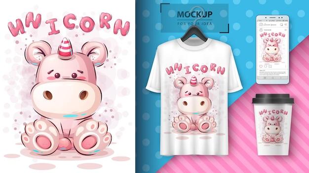 Affiche et merchandising de licorne en peluche. vecteur eps 10