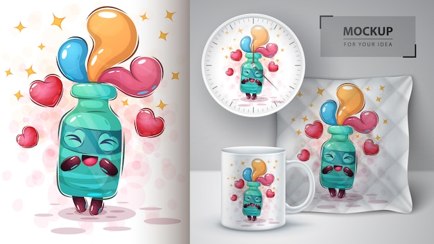 Affiche et merchandising love botle