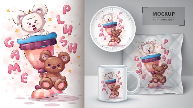 Affiche et merchandising de l'ours champion