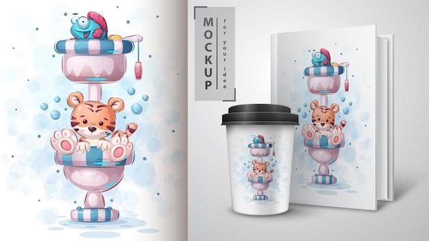 Affiche et merchandising des toilettes du tigre