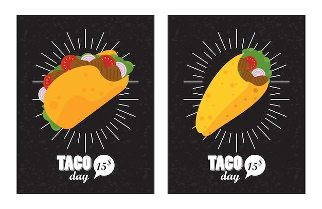 Affiche mexicaine de célébration de jour de tacos avec des tacos et des lettres.