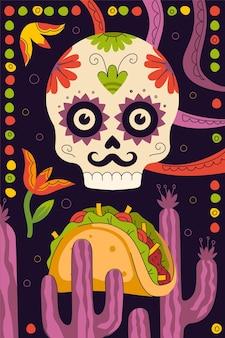 Affiche mexicaine de tacos de restauration rapide pour le menu du restaurant de cuisine mexicaine pour la publicité du restaurant taqueria. crâne de squelette, ornement de cactus et tortilla traditionnelle latino-américaine farcie. bannière de tacos