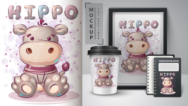 Affiche mignonne d'hippopotame et merchandising.