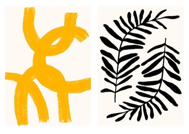 Affiche minimaliste d'art abstrait avec un coup de pinceau sec jaune et des feuilles tropicales
