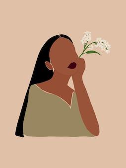 Affiche minimaliste boho moderne avec femme noire et bouquet de fleurs sauvages pour l'impression d'affiches