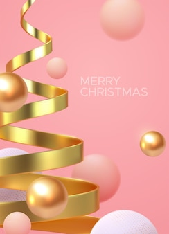 Affiche minimaliste de joyeux noël de forme d'hélice d'arbre de noël doré et de sphères fluides