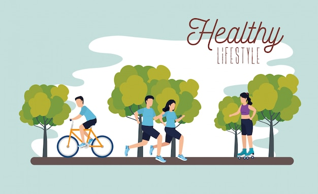 Affiche de mode de vie sain avec des athlètes dans le parc