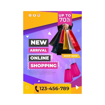 Affiche de modèle d'achat en ligne