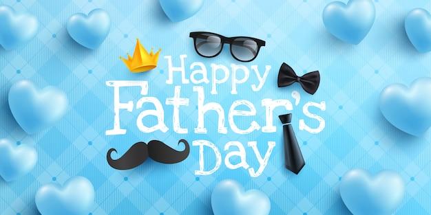 Affiche ou modèle de bannière de bonne fête des pères avec cravate, lunettes et coeur sur bleu