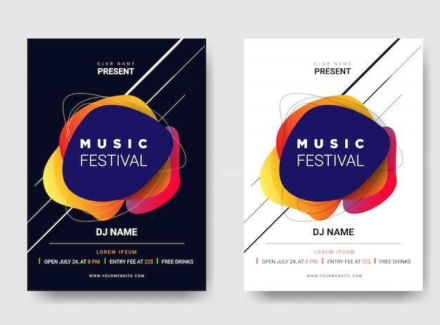 Affiche modèle / dépliant festival de musique. avec combinaison de couleurs en dégradé.