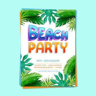 Affiche de modèle de fête d'été lettrage