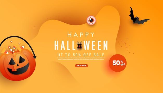 Affiche de modèle d'halloween joyeux à la mode avec citrouille orange trick or treat