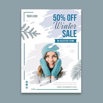 Affiche de modèle de vente d'hiver