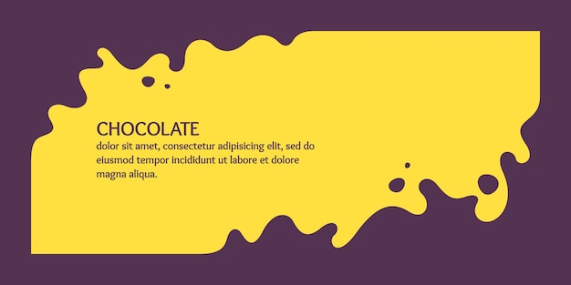 Affiche moderne éclaboussures dynamiques et gouttes d'illustration vectorielle de chocolat dans un style plat