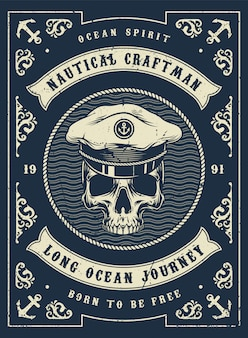 Affiche monochrome nautique vintage
