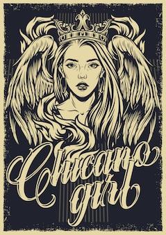 Affiche monochrome vintage de tatouage chicano