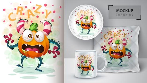 Affiche de monstre de citrouille et merchandising