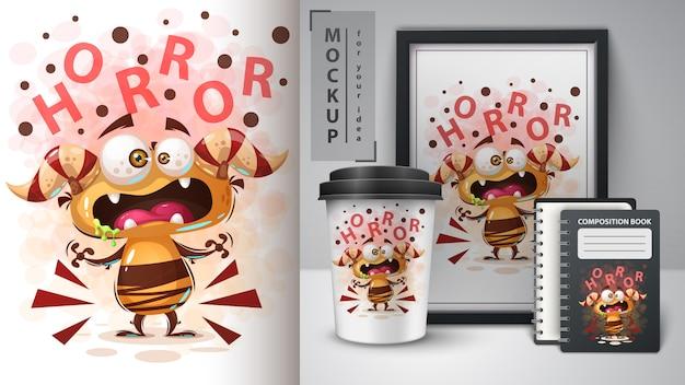 Affiche de monstre fou d'horreur et merchandising