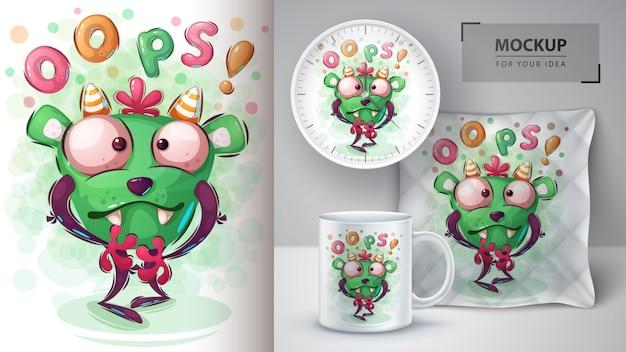 Affiche de monstre d'halloween et merchandising