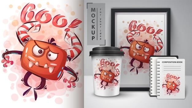 Affiche de monstre maléfique et merchandising
