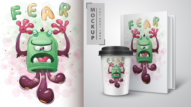 Affiche de monstre mignon et merchandising.