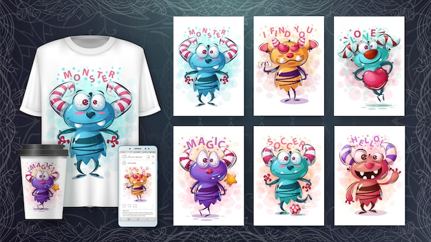 Affiche de monstres mignons et merchandising