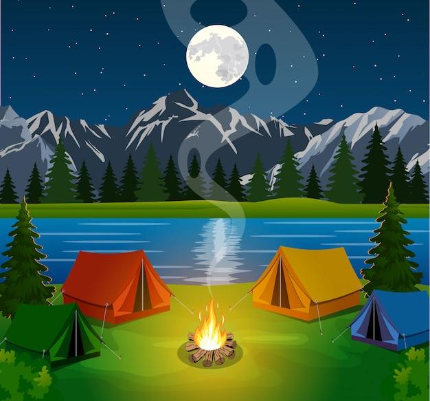 Affiche montrant un camping avec un feu de camp