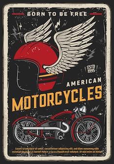 Affiche de moto, moto vintage, course de motards