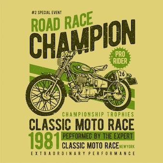 Affiche de moto vintage. moto sur la route avec fond du désert