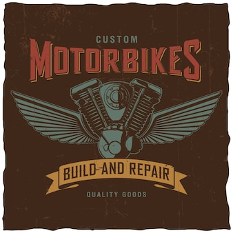 Affiche de motos personnalisées avec des mots construits et réparés avec un moteur de moto dessiné à la main