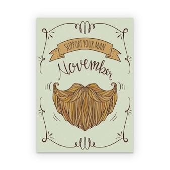 Affiche de movember avec barbe dessinée à la main