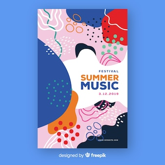 Affiche de musique abstraite dessiné à la main l'été