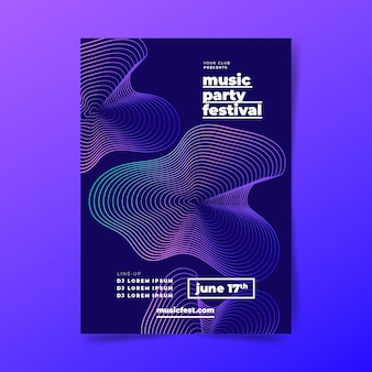 Affiche de musique abstraite avec des formes ondulées