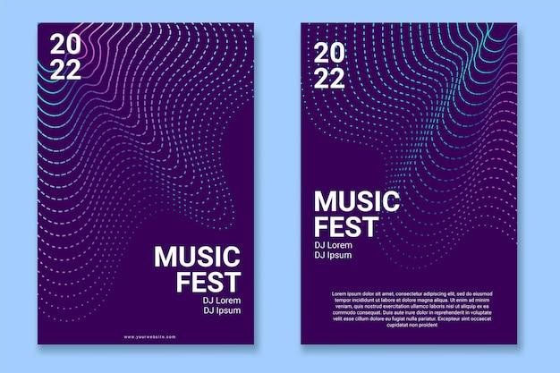 Affiche de musique abstraite avec des lignes de vagues déformées